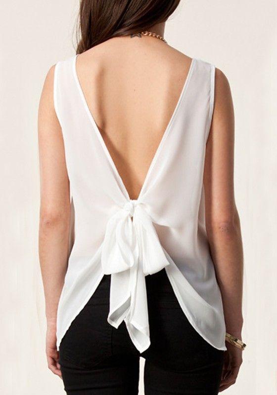 White Plain Sleeveless Chiffon Vest