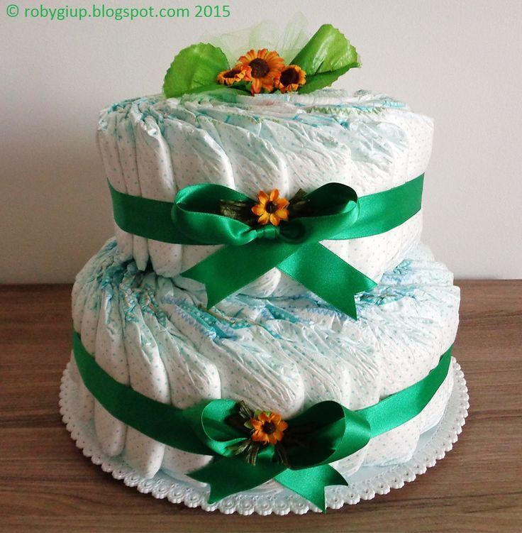 Torta di pannolini verde con girasoli, ottima idea regalo! - Green diaper cake with sunflowers, great gift idea! - RobyGiup handmade #newborn #gift #present #child