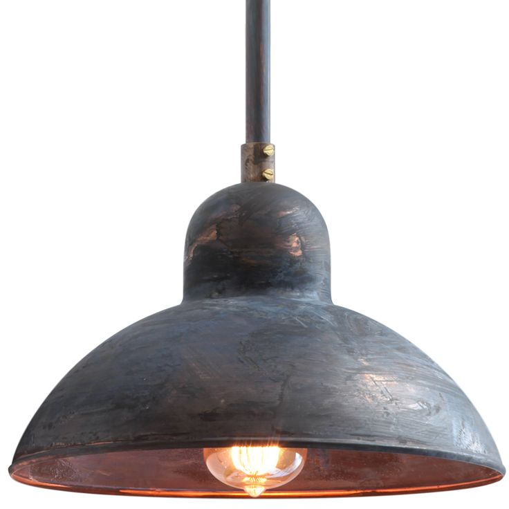 BOLICH fixed tube pendant lamp in 20th century factory style, handmade in Germany, patinated copper finish.
