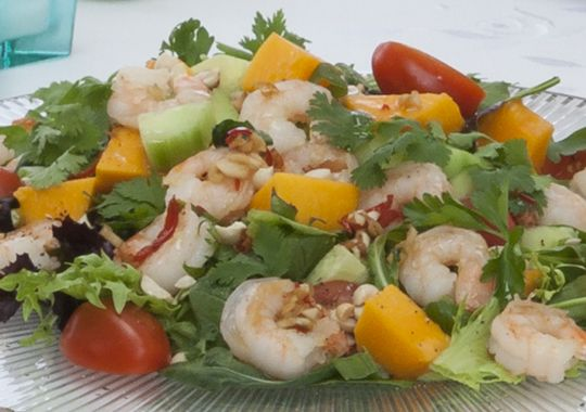 Garlic Prawn Salad  This is something I am going to have to try.  It looks delicious...