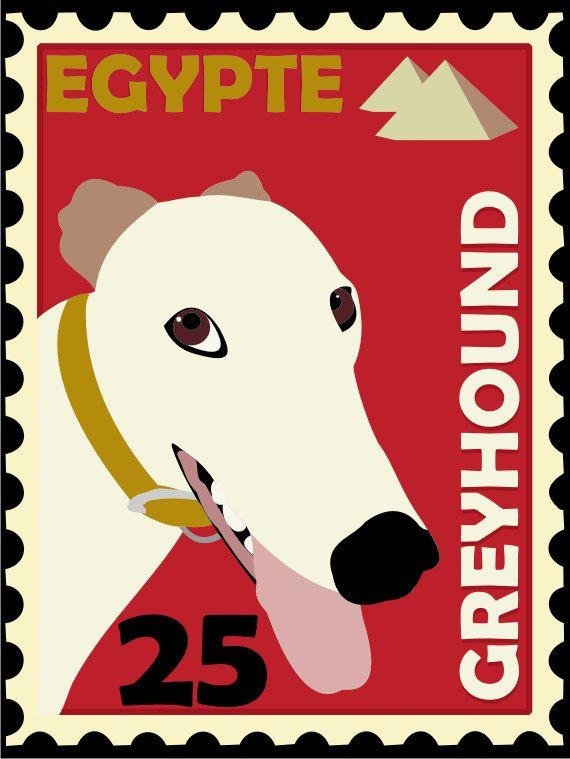 Greyhound Art Poster Postage Stamp Art Series 11 x 14. $21.00, via Etsy.