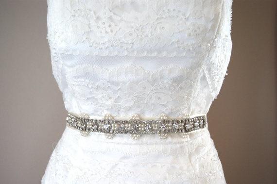 Thin Crystal and Pearl Bridal Sash  Art Deco by VenustBridal, $125.00
