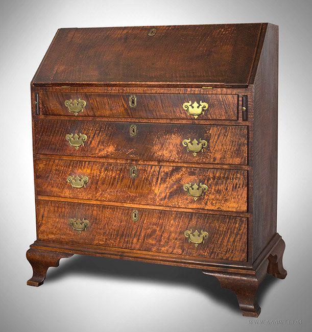 Antique Curly Maple Slant Front Desk, Westport, Massachusetts, Circa 1790,  angle view   Antique Tiger Maple   Pinterest   Antique furniture, Antique  desk ... - Antique Curly Maple Slant Front Desk, Westport, Massachusetts, Circa
