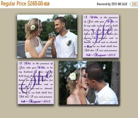 BLACK FRIDAY SALE Set of 4 Wedding Vow Art  He. от RockinCanvas
