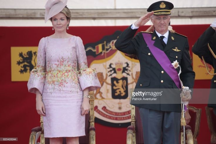 King Philippe of Belgium and Queen Mathilde of Belgium during the military parade on the Belgian National Day on July 21, 2017 in Brussels, Belgium. (Photo by Patrick Aventurier/WireImage)