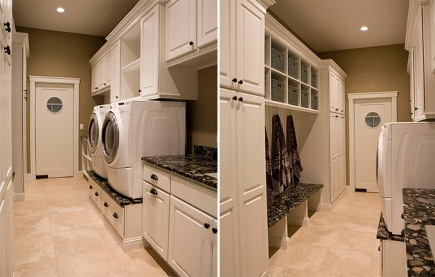 I would punch it up with more cheerful colors, but I love that dual-swinging laundry door, the raised washer/dryer and all that fantastic cabinet space! :)  the built-ins opposite would be ideal if this doubled as a mudroom~