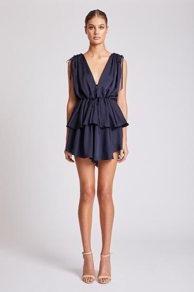 Shona Joy - Calypso Ruched Peplum Mini Dress - Navy