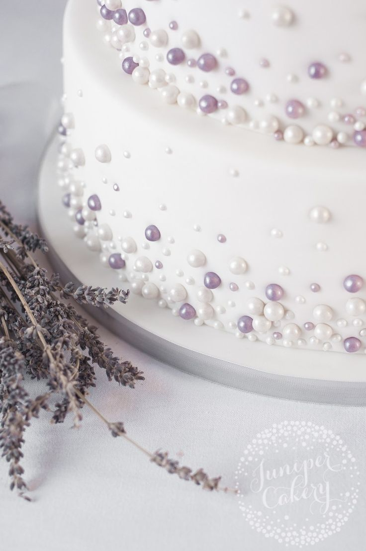 square black and white wedding cakes pictures%0A Ivory and lavender pearl embellished wedding cake by Juniper Cakery