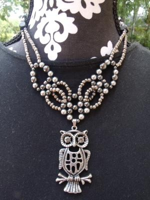 Pewter owl collar necklace