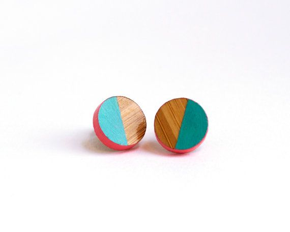 Hand Painted Aqua and Pink Earrings Round by HeartoftheHeart