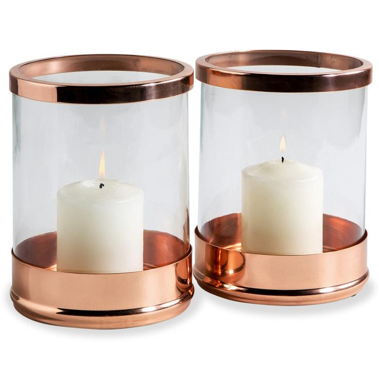 Anel Rose Gold Glass Modern Hurricane Candle Holder - Set of 2 | Kathy Kuo Home