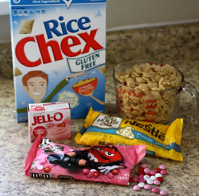 Strawberry Valentine Chex Mix : 1 box Rice Chex, Strawberry Creme Pudding mix, valentines M, 1 bag White Chocolate chips, Valentines sprinkles, balls, large grain sanding sugar, or other cute decor