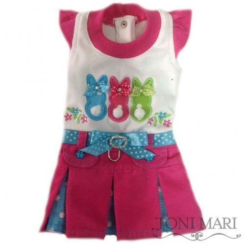 Tonimari Dress Peeps & Flowers Hot Pink Turquoise