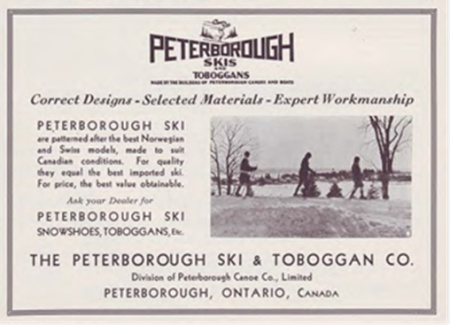 """Peterborough Canoe Company Ad C.1935. Ads from the 1930's depict Peterborough-ians gliding along icy paths on skis whose quality """"equal[ed] the best imported ski""""."""