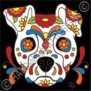 Amazon.com: 6x6 Tile Day of the Dead Dog Sugar Skull: Kitchen & Dining