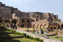 The 13th century Golconda Fort was built by the Kakatiyas. It was build in 945 CE-970 CE.[2] The dynasty's name comes either  from their worship of a goddess called Kakati.  Kakatiyas' ancestors belonged to the Durjaya family. [3]In the 16th century, Golkonda was the capital city of the Qutb Shahi kingdom, near Hyderabad. The city was home to one of the most powerful Muslim sultanates of the region and was the flourishing center of diamond trade.