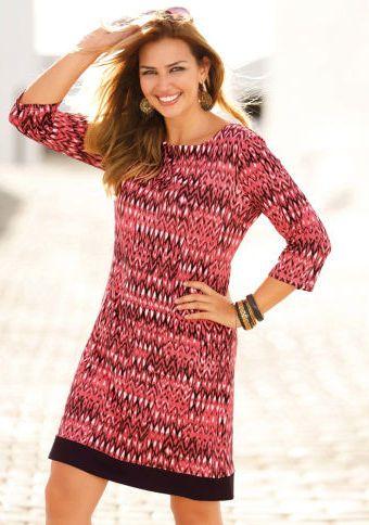 Šaty s etno potiskem a 3/4 rukávy #ModinoCZ #fall #autumn #fashion #colours #autumncolours #trendy #stylish #podzimnimoda #moda #styl