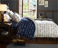 Roupa De Cama Azul Marinho E Branco Fronha Colcha Edredom Conjunto Single Queen King Size