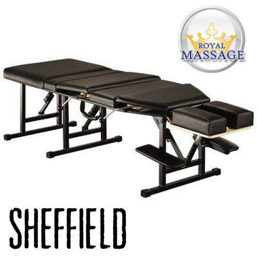 The Sheffield Elite Portable Chiropractic Table is the perfect design for portability and function in a chiropractic drop table. It features a lightweight design with all the professional options included.