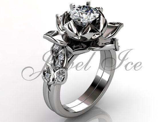 Platinum diamond unusual lotus flower engagement ring, bridal set, wedding ring, flower engagement set, anniversary ring by Jewelice