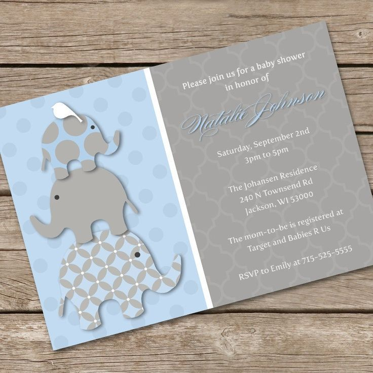baby shower invitation for twins%0A Stacked Pink Elephants Baby Shower Invitation DIY by LOlsonDesigns