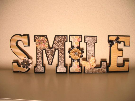 hand decorated wooden letters