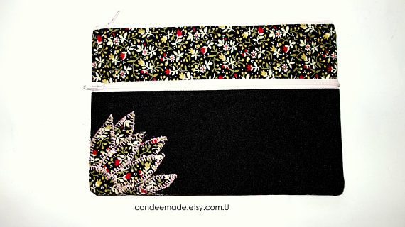 Beautiful Applique Floral and black Pencil case/ Makeup Bag 21cm x 14.5cm With Two Pockets and  light pink Zippers,