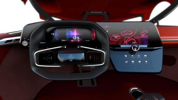 Renault TREZOR Concept - tableau de bord - zoom sur volant et écran