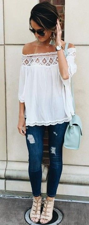 #summer #lovely #fashion   White Bardot Top + Jeans