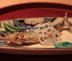 焼肴:高津川の鮎塩焼き、新蓮根、蓼酢
