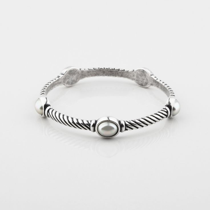 Miglio Designer Jewellery - White Shell Pearl Rope-detail Bangle, R699.00 (http://shopza.miglio.com/shop-by-product/white-shell-pearl-rope-detail-bangle/)