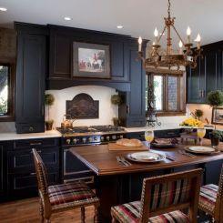 U-образный большой-традиционный черно-кухня