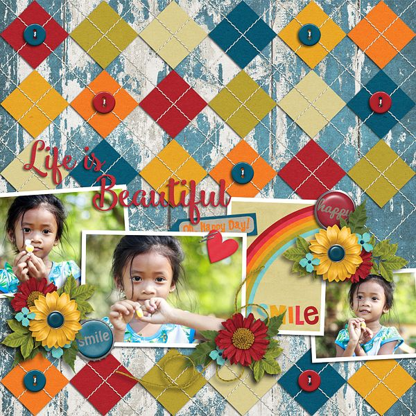 Life is Beautiful*** Template : Stitched Up 06 by Akizo Designs, http://www.thedigichick.com/shop/Akizo-Designs/   Kit : Collab Everyday Happiness by GingerBread Ladies, http://store.gingerscraps.net/GingerBread_Ladies/  Photos : nhattienle94