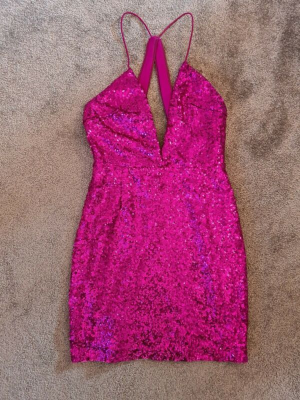 BNWT Girl/'s Sequin Tiered Dress Pink Size 10