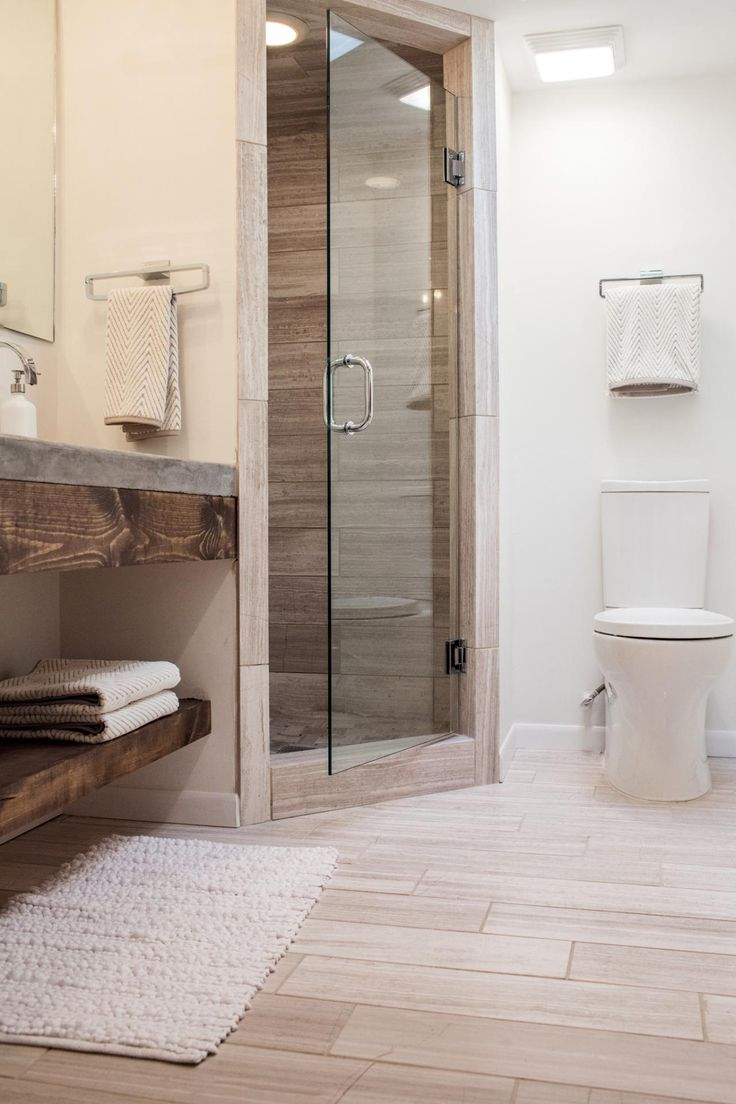 Bathroom with corner shower - A Fixer Upper Take On Midcentury Modern
