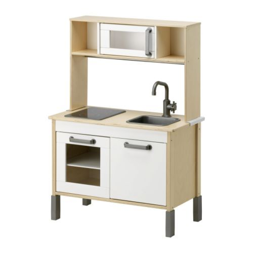 MIni-Kitchen by IKEA: Elliot, age 3 1/2, and Nora, age 1 1/2, love their toy kitchen. Me too! Nicely made of birch plywood. $138. #Toy_Kitchen #IKEA