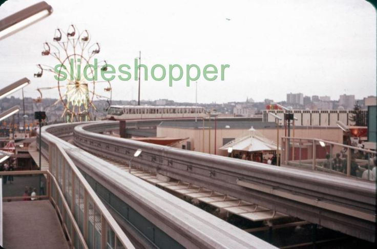 Slide Photo Expo 1962 Seattle World's Fair View of  Monorail Ferris Wheel
