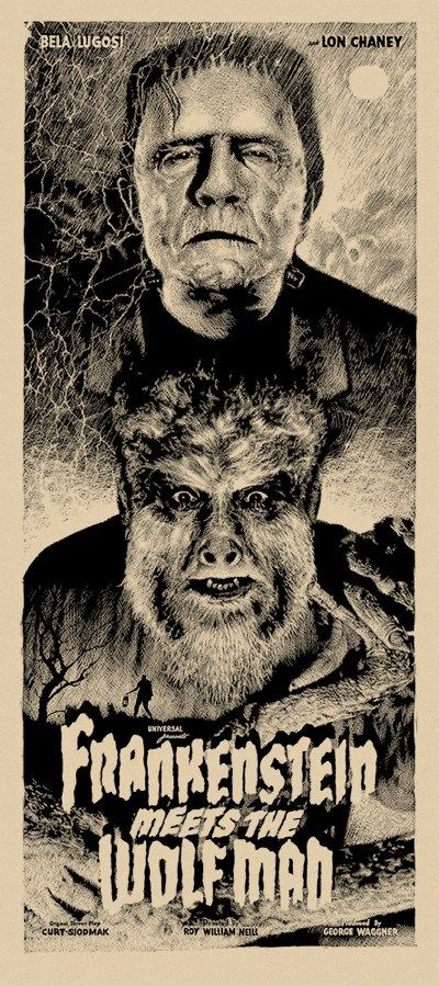 Frankenstein Meets The Wolfman Regular poster by Elvisdead. 16″x36″ screen print. Hand numbered. Glow in the Dark ink. Edition of 225 $40