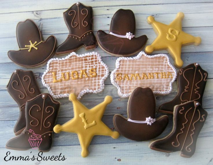 Cowgirl Cookies~                                   By Emma'sSweets via Facebook, yellow, brown, cowgirl hat, cowgirl boots, sheriff star, western