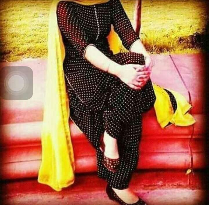 Beautiful Black and White Patiala Suit With Yellow Dupatta.