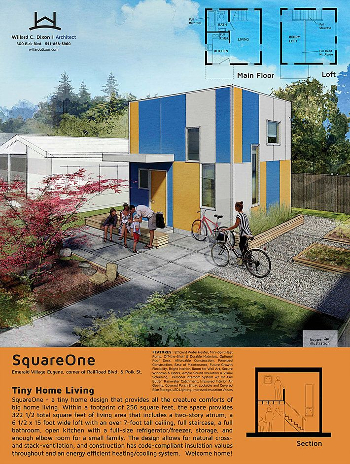 """Oregon's Emerald Village project by SquareOne: 22 tiny houses that will range in size from approximately 150 - 250 square feet. Each home will be designed to meet the building code's definition of a """"permanent dwelling"""" including kitchen, bath, sleeping and living areas. The individual houses will be supported by common facilities that include a community gathering area, kitchen, laundry, half bath, and tool storage."""