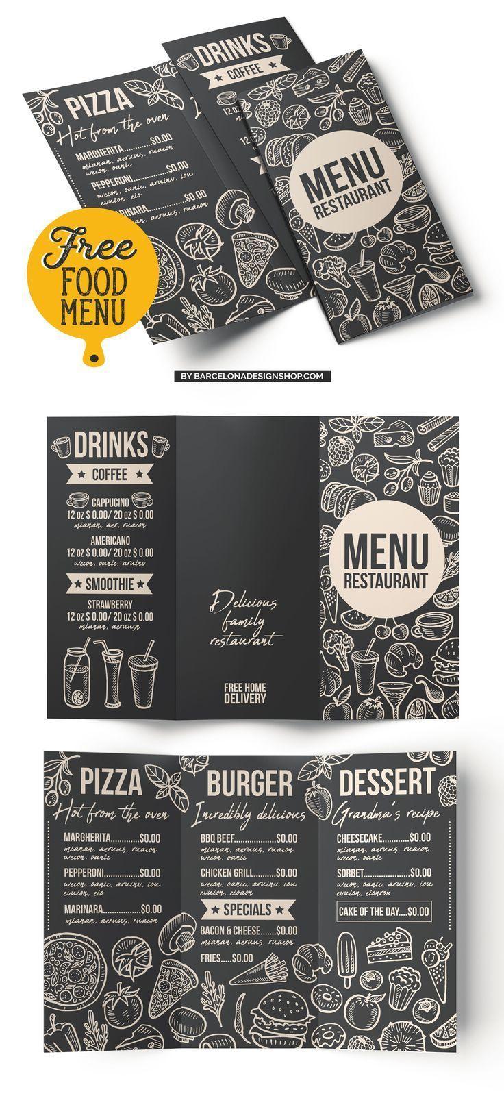 Free food menu template for restaurant. Photoshop psd burger pizza ...