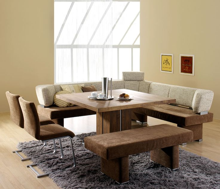 Depiction Of Modern Bench Style Dining Table Set Ideas