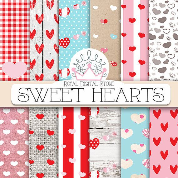 """Hearts digital paper: SWEET HEARTS"""" with heart pattern, heart scrapbook paper in red, pink, white for scrapbooking, cards, valentine #wedding #shabby #scrapbooking #digital #paper"""