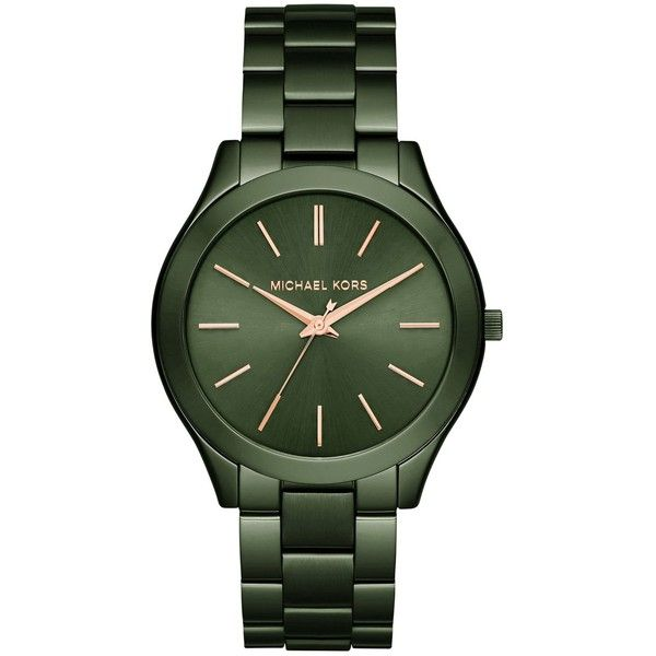 Michael Kors Women's Slim Runway Olive Stainless Steel Bracelet Watch... ($195) ❤ liked on Polyvore featuring jewelry, watches, olive, stainless steel watches, michael kors, watch bracelet, stainless steel jewellery and michael kors jewelry