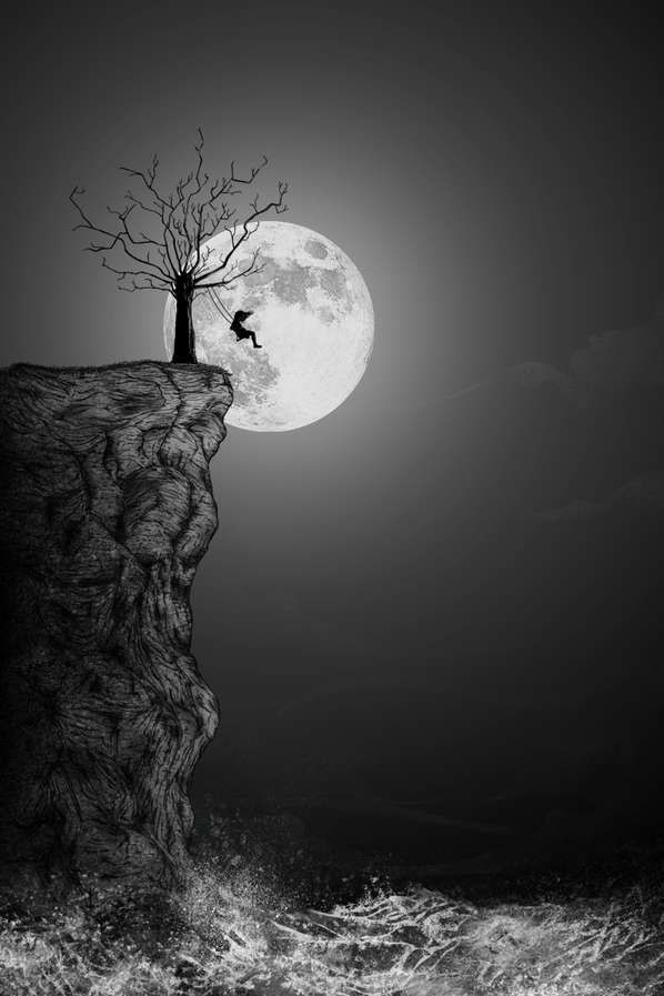 Swinging to the moon.