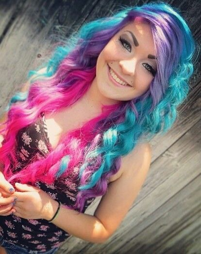 Blue purple pink hair