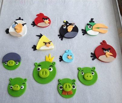 Angry Birds Fondant Cupcake Toppers.