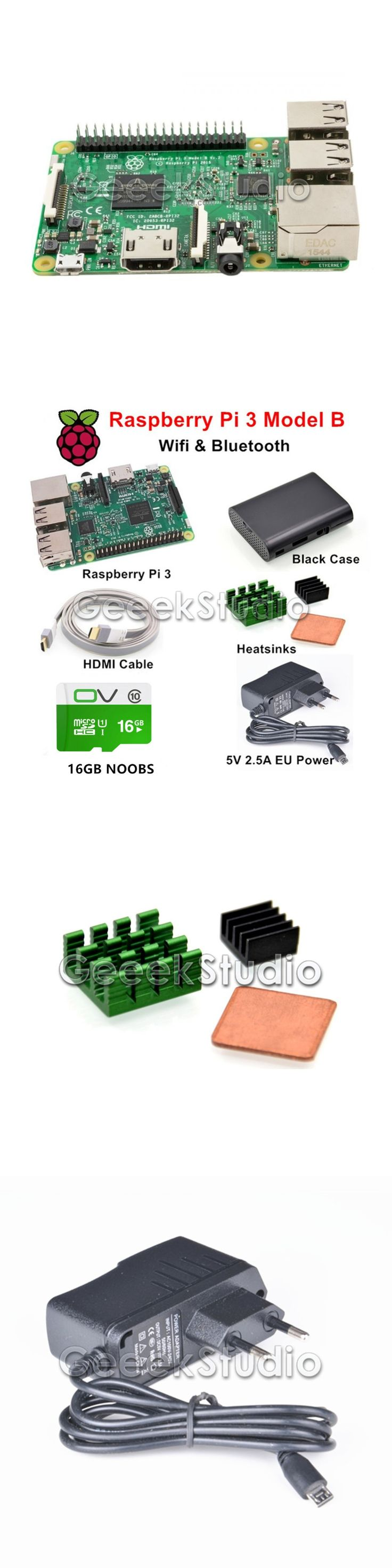 Raspberry Pi 3 Model B Starter Kit with 5V 2.5A EU/UK/US/AU Power Supply 16GB NOOBS ABS Black Case HDMI Cable Heatsinks
