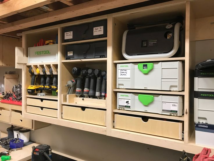 Garage Tooling Organization - Mini chaos theory cabinets - systainer and tool storage.  systainer, nail gun, and consumable storage.  Shop shelves, nailer, drawer, plywood, maple, festool, systainer, tanos, Dewalt, drill